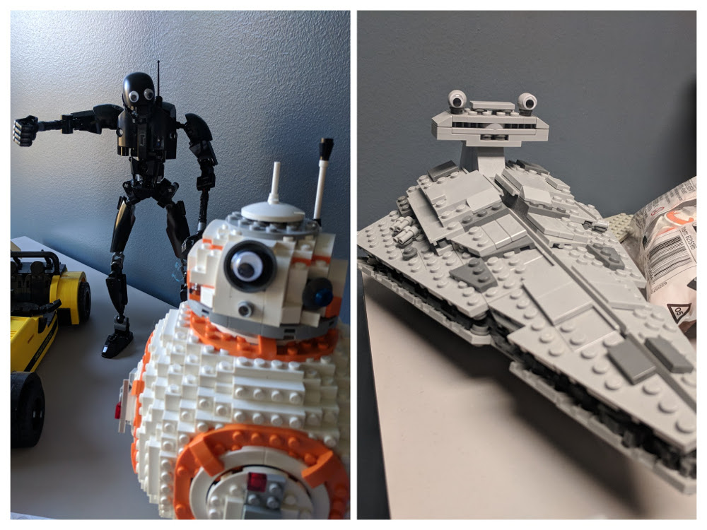 Googly eyes on Star Wars LEGO sets (BB-8, K-2SO, Star Destroyer)